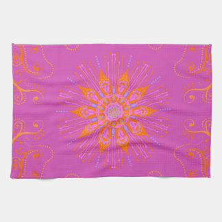 Tequila Sunrise Mandala Cotton Towel