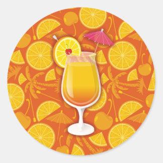 Tequila sunrise round sticker