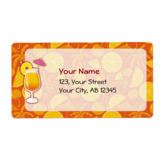 Tequila sunrise shipping label