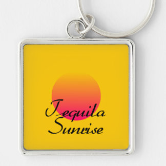 Tequila Sunrise Silver-Colored Square Key Ring