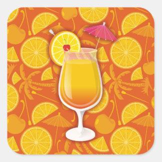 Tequila sunrise square sticker