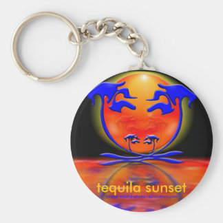 tequila sunset basic round button key ring