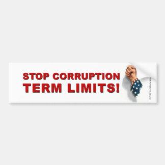 Term Limits, Stop Corruption - Bumper Bumper Stickers