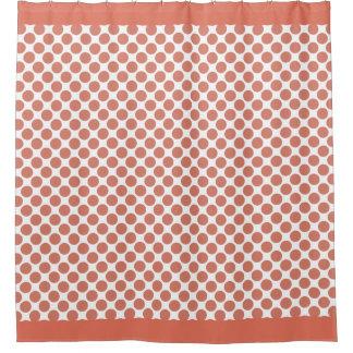 Terra Cotta Orange Polka Dots Shower Curtain