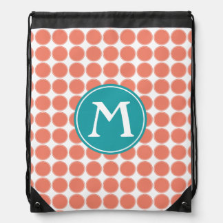 Terra Cotta Pure Turquoise Polka Dot Monogram Drawstring Bag