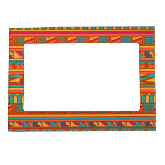 Terracotta Abstract Aztec Tribal Print Pattern Magnetic Frame