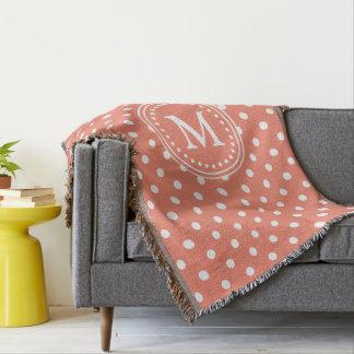 Terracotta and White Polka Dot Monogram Throw Blanket