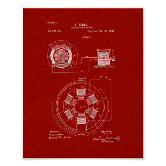 Tesla Alternating Motor Patent - Burgundy Red Poster