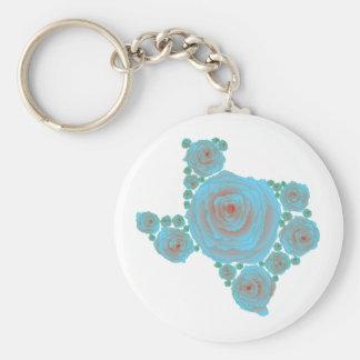Texas Blue Rose Basic Round Button Key Ring