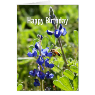 Texas Bluebonnet Happy Birthday Greeting Card