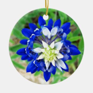 Texas Bluebonnet Top View Round Ceramic Decoration