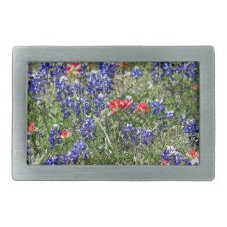 Texas Bluebonnets & Indian Paintbrush Wildflowers Belt Buckle