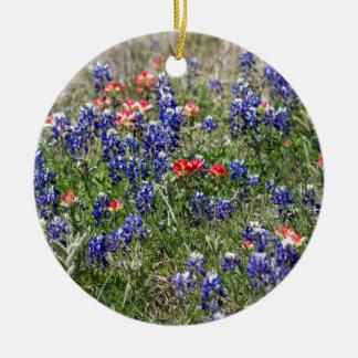 Texas Bluebonnets & Indian Paintbrush Wildflowers Christmas Tree Ornament
