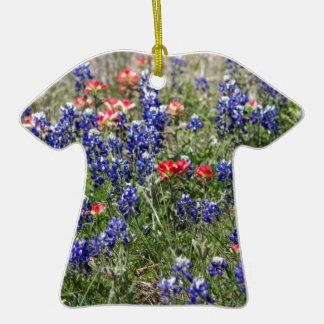 Texas Bluebonnets & Indian Paintbrush Wildflowers Christmas Ornaments