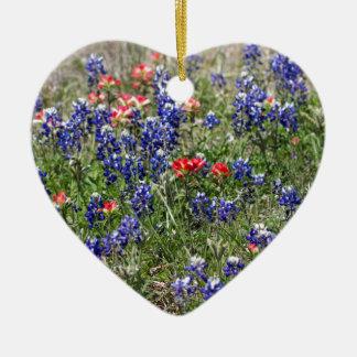 Texas Bluebonnets & Indian Paintbrush Wildflowers Christmas Ornament