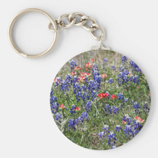 Texas Bluebonnets & Indian Paintbrush Wildflowers Keychains