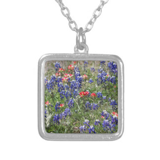 Texas Bluebonnets & Indian Paintbrush Wildflowers Necklace