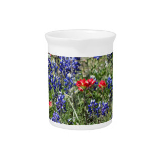 Texas Bluebonnets & Indian Paintbrush Wildflowers Drink Pitchers