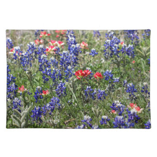 Texas Bluebonnets & Indian Paintbrush Wildflowers Placemats