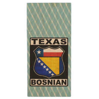 Texas Bosnian American Wood USB 2.0 Flash Drive