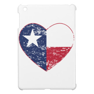 Texas Flag Heart Distressed Cover For The iPad Mini