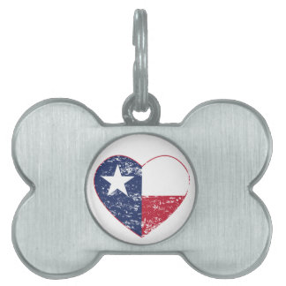 Texas Flag Heart Distressed Pet Tag
