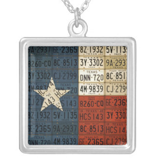 Texas Flag License Plate Art Lone Star State Silver Plated Necklace