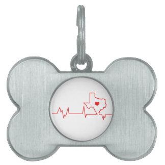 Texas Heart beat Pet ID Tag