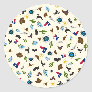 Texas items- famous state icons round sticker