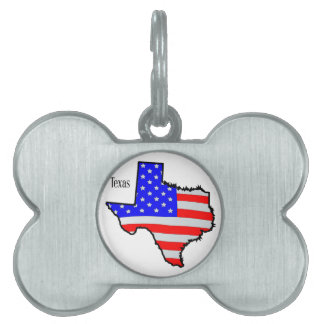 Texas Map and Flag Pet Name Tag