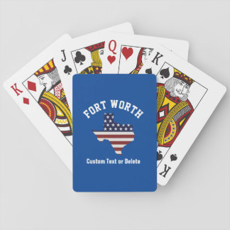 Texas Map | Patriotic USA Flag | Your City or Text Playing Cards