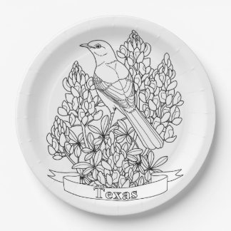 Texas State Bird & Flower Coloring Page 9 Inch Paper Plate