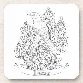 Texas State Bird & Flower Coloring Page Coaster
