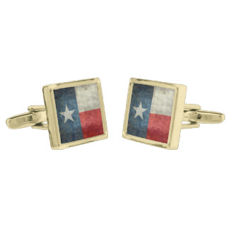 Texas state flag vintage retro style cuff links gold finish cuff links