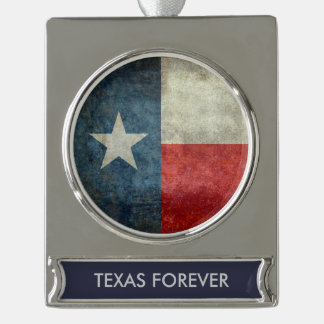 Texas state flag vintage retro style ornament silver plated banner ornament
