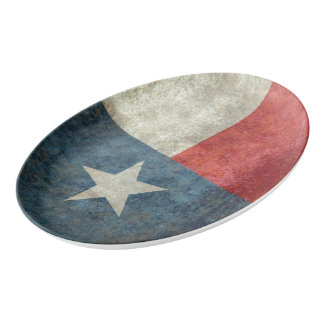 Texas state flag vintage retro style Platter Porcelain Serving Platter