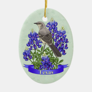 Texas State Mockingbird & Bluebonnet Flower Ceramic Oval Decoration