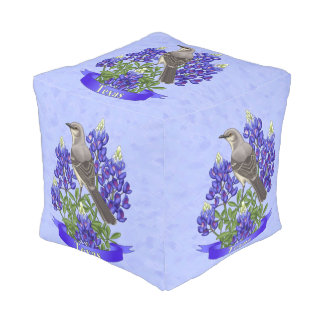 Texas State Mockingbird & Bluebonnet Flower Cube Pouffe