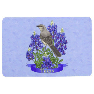 Texas State Mockingbird & Bluebonnet Flower Floor Mat