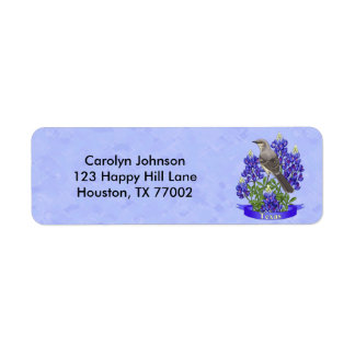 Texas State Mockingbird & Bluebonnet Flower Return Address Label