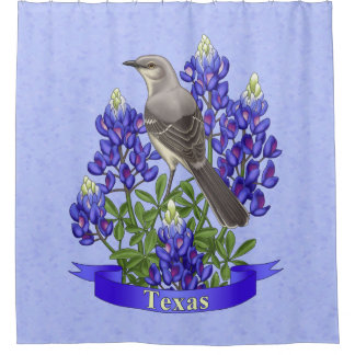 Texas State Mockingbird & Bluebonnet Flower Shower Curtain