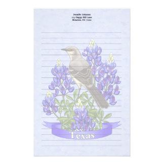 Texas State Mockingbird & Bluebonnet Flower Stationery Design