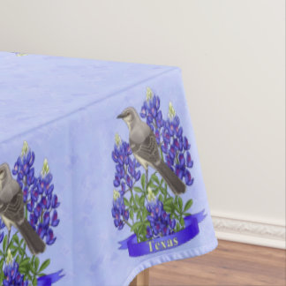 Texas State Mockingbird & Bluebonnet Flower Tablecloth