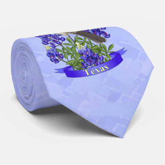 Texas State Mockingbird & Bluebonnet Flower Tie
