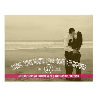 Text Overlay Save The Date Cards - Fuchsia Postcard