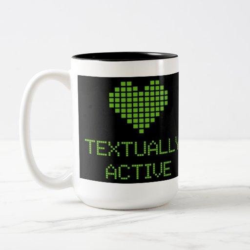 TEXTUALLY ACTIVE COFFEE MUGS