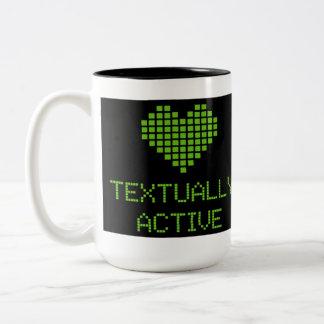 TEXTUALLY ACTIVE Two-Tone COFFEE MUG