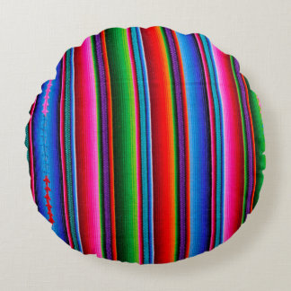 Texture Of Mexican Fabric Round Cushion