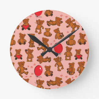 Texture With Teddy Bears, Hearts Wall Clocks