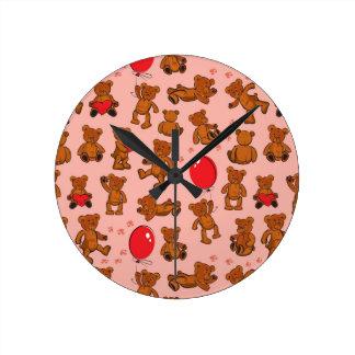 Texture With Teddy Bears, Hearts Wall Clocks